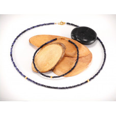 Necklace and bracelet raw sapphires set